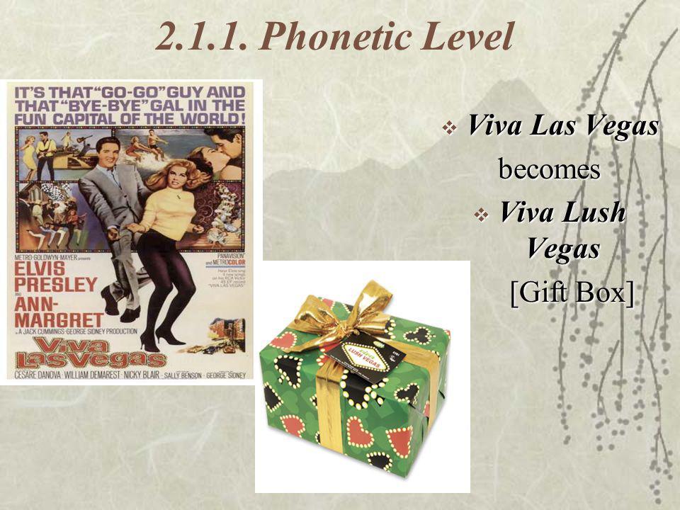 2.1.1. Phonetic Level Viva Las Vegas Viva Las Vegasbecomes Viva Lush Vegas Viva Lush Vegas [Gift Box] [Gift Box]