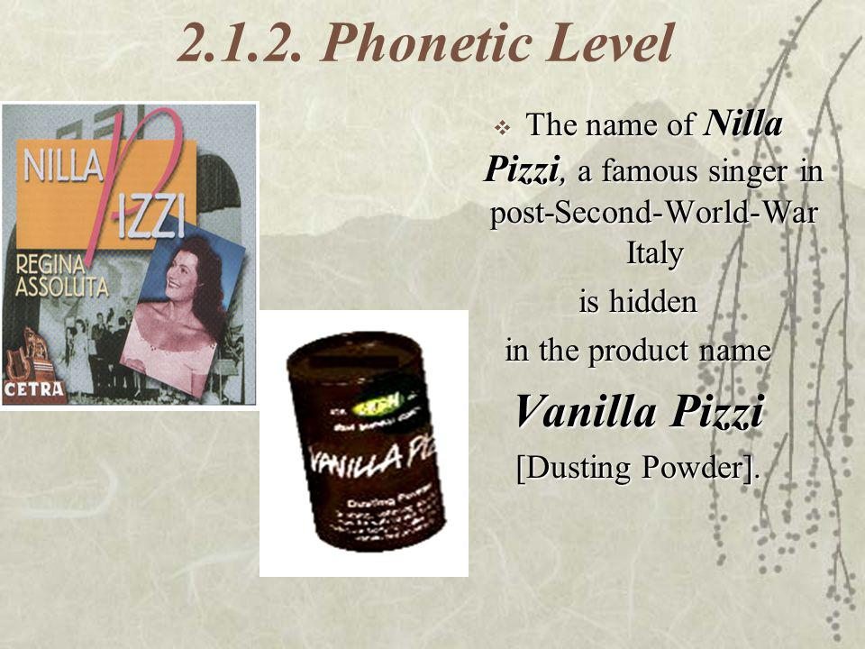 2.1.2. Phonetic Level The name of Nilla Pizzi, a famous singer in post-Second-World-War Italy The name of Nilla Pizzi, a famous singer in post-Second-