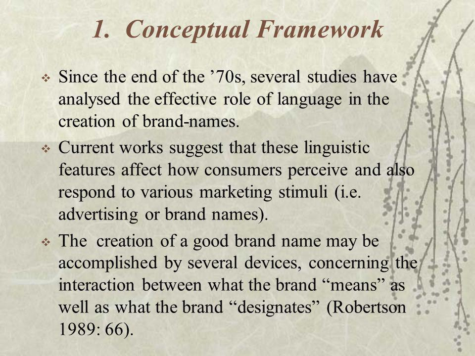 1. Conceptual Framework Since the end of the 70s, several studies have analysed the effective role of language in the creation of brand-names. Current