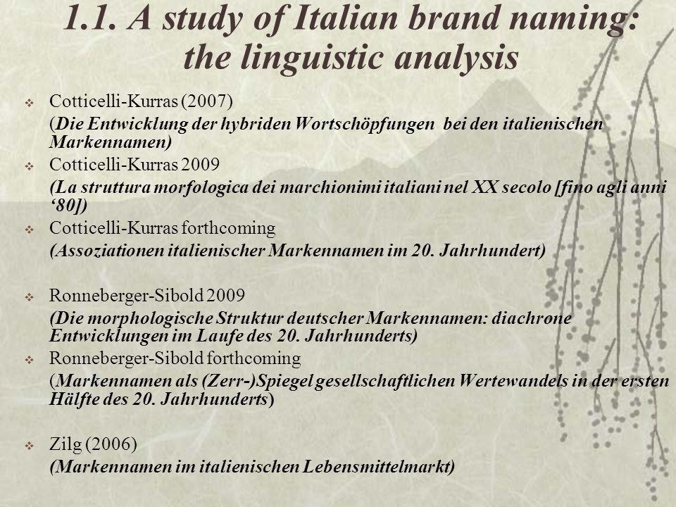 1.1. A study of Italian brand naming: the linguistic analysis Cotticelli-Kurras (2007) (Die Entwicklung der hybriden Wortschöpfungen bei den italienis