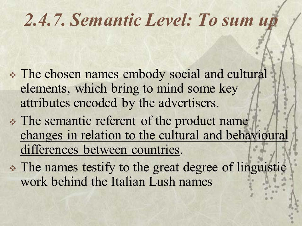 2.4.7. Semantic Level: To sum up The chosen names embody social and cultural elements, which bring to mind some key attributes encoded by the advertis