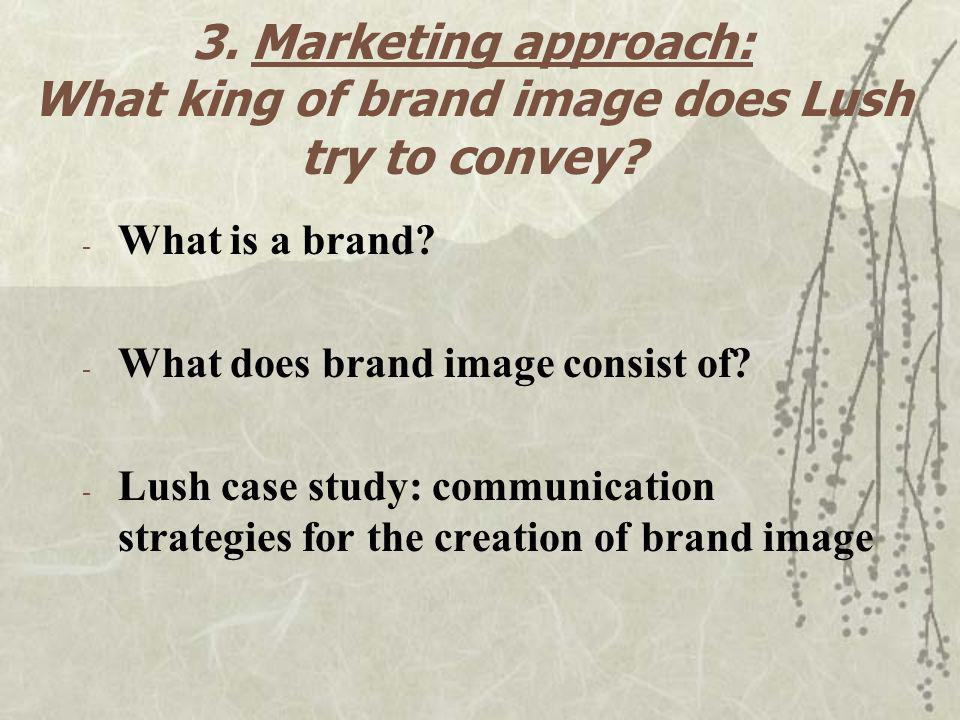 3. Marketing approach: What king of brand image does Lush try to convey? - What is a brand? - What does brand image consist of? - Lush case study: com