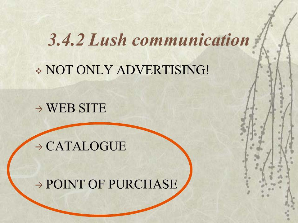3.4.2 Lush communication NOT ONLY ADVERTISING! WEB SITE CATALOGUE POINT OF PURCHASE