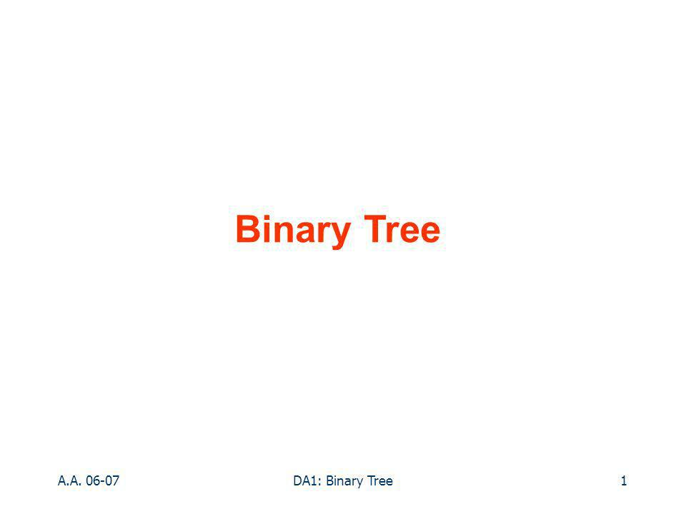 A.A DA1: Binary Tree1 Binary Tree