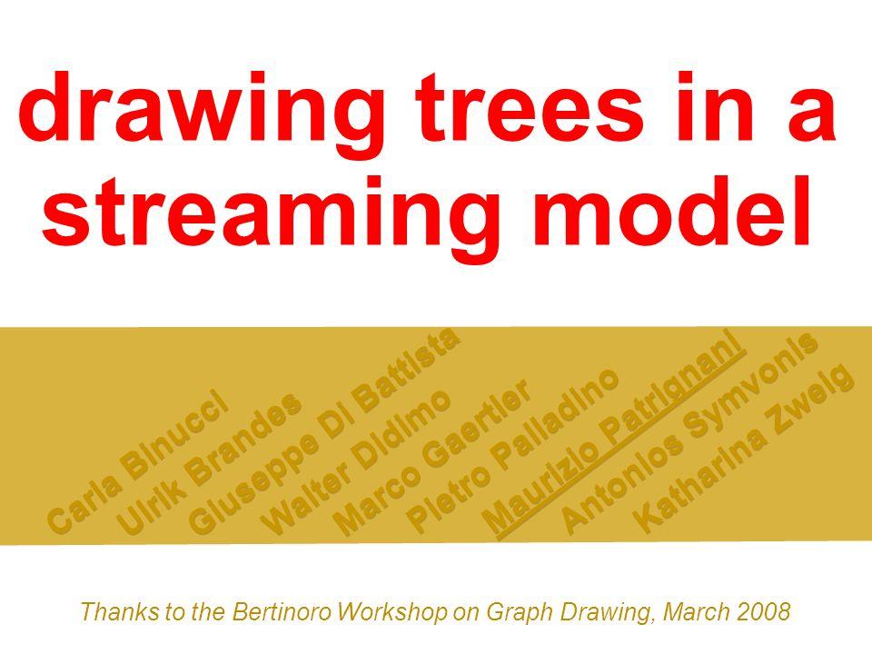 drawing trees in a streaming model Carla Binucci Ulrik Brandes Giuseppe Di Battista Walter Didimo Marco Gaertler Pietro Palladino Maurizio Patrignani
