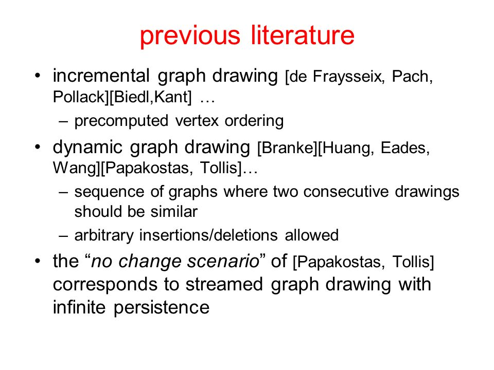 previous literature incremental graph drawing [de Fraysseix, Pach, Pollack][Biedl,Kant] … –precomputed vertex ordering dynamic graph drawing [Branke][