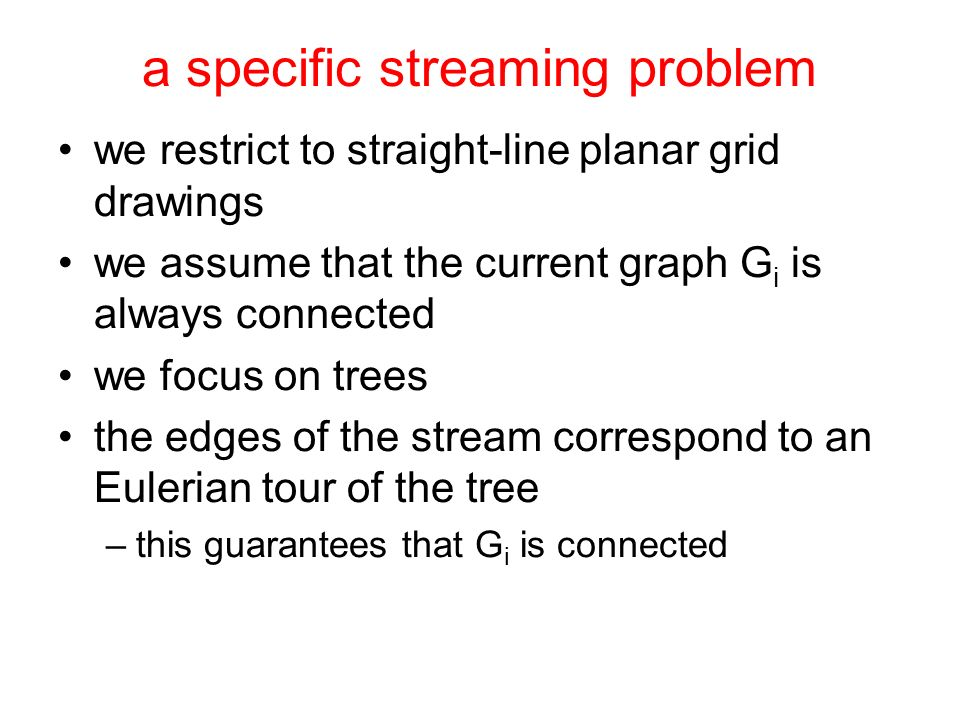 a specific streaming problem we restrict to straight-line planar grid drawings we assume that the current graph G i is always connected we focus on trees the edges of the stream correspond to an Eulerian tour of the tree –this guarantees that G i is connected