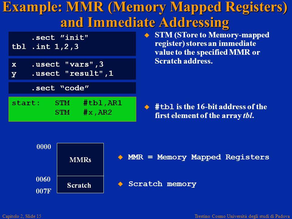 Trestino Cosmo Università degli studi di Padova Capitolo 2, Slide 15 Example: MMR (Memory Mapped Registers) and Immediate Addressing STM (STore to Memory-mapped register) stores an immediate value to the specified MMR or Scratch address.