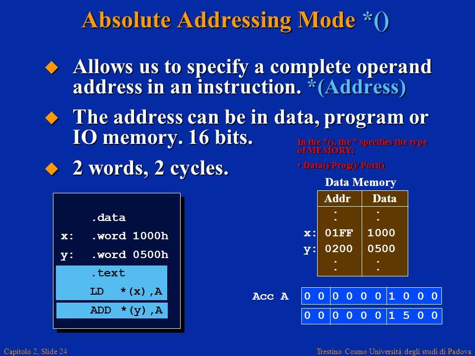 Trestino Cosmo Università degli studi di Padova Capitolo 2, Slide 24 Absolute Addressing Mode *() Allows us to specify a complete operand address in an instruction.