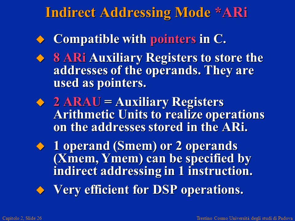 Trestino Cosmo Università degli studi di Padova Capitolo 2, Slide 26 Indirect Addressing Mode *ARi Compatible with pointers in C. Compatible with poin
