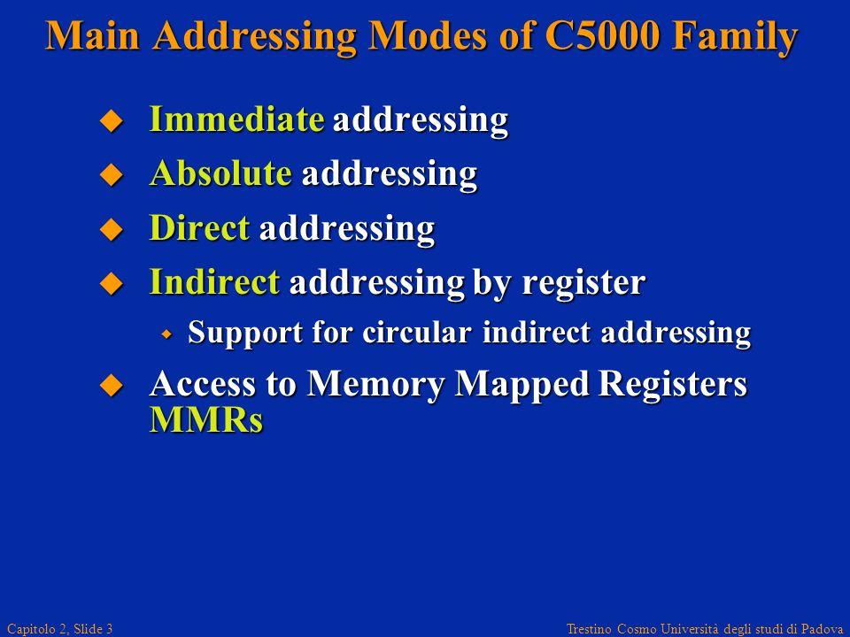 Trestino Cosmo Università degli studi di Padova Capitolo 2, Slide 3 Main Addressing Modes of C5000 Family Immediate addressing Immediate addressing Ab