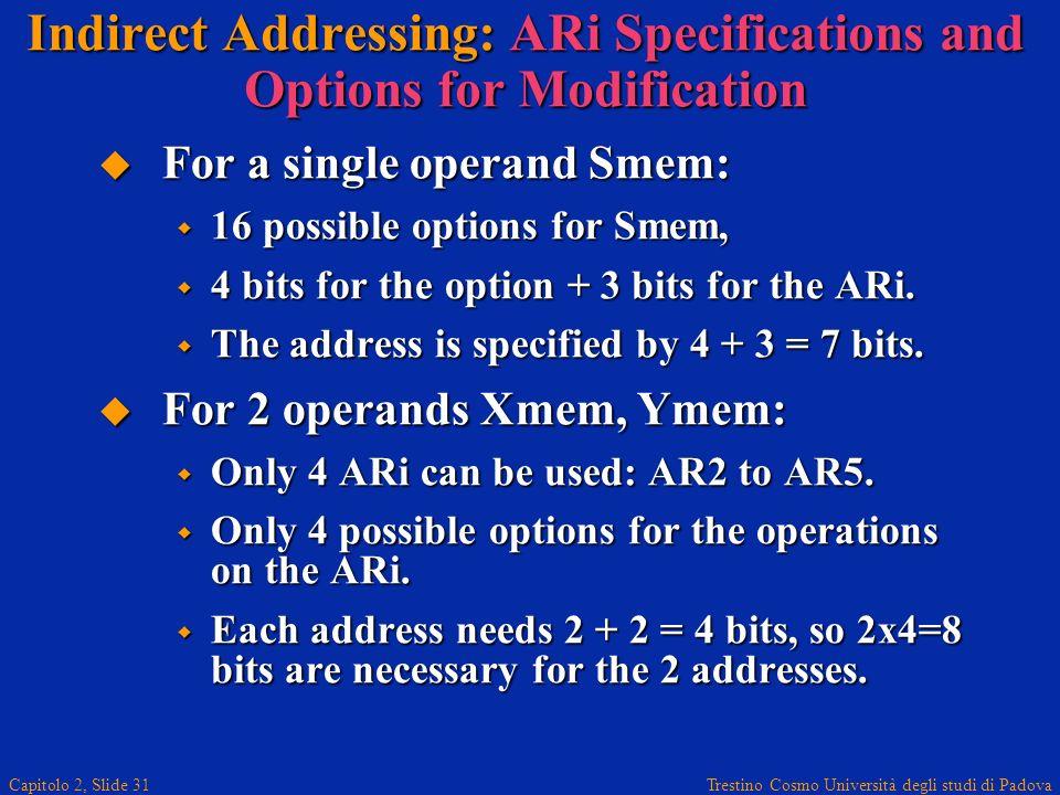 Trestino Cosmo Università degli studi di Padova Capitolo 2, Slide 31 Indirect Addressing: ARi Specifications and Options for Modification For a single