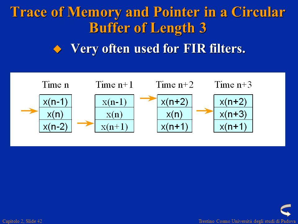 Trestino Cosmo Università degli studi di Padova Capitolo 2, Slide 42 Trace of Memory and Pointer in a Circular Buffer of Length 3 Very often used for FIR filters.