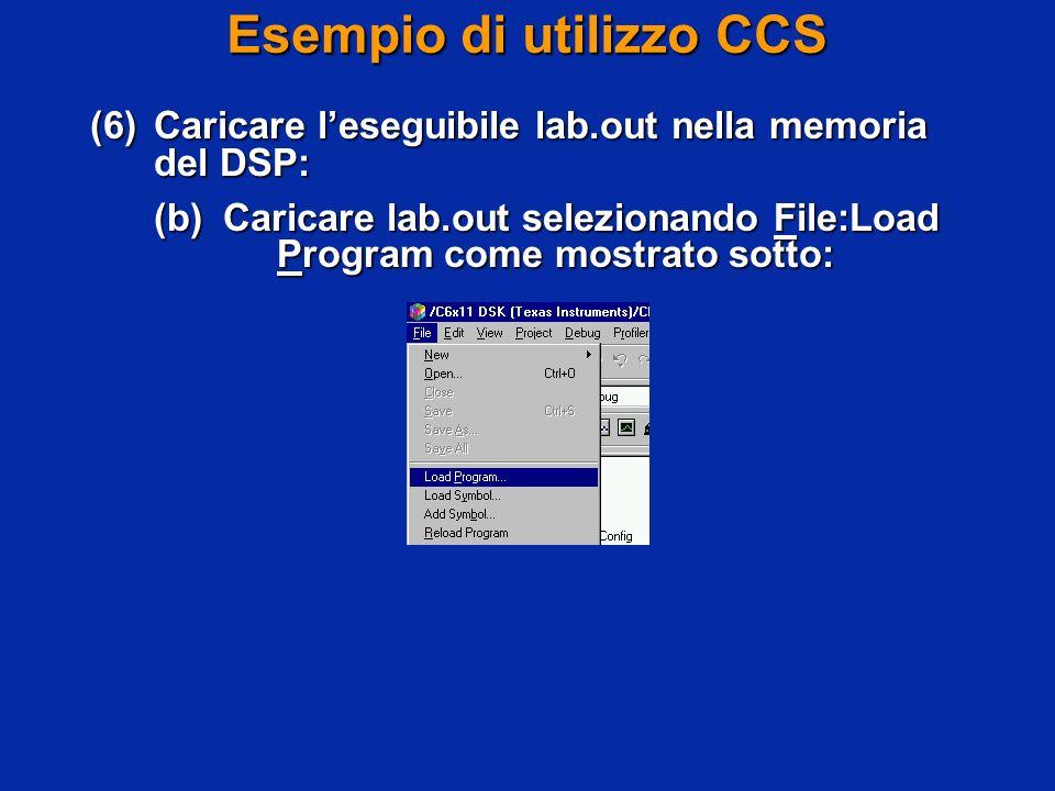 Esempio di utilizzo CCS (6)Caricare leseguibile lab.out nella memoria del DSP: (b)Caricare lab.out selezionando File:Load Program come mostrato sotto: