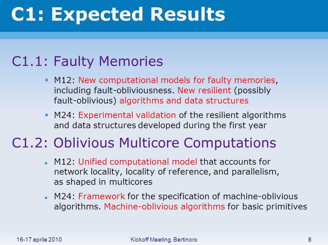 Kickoff Meeting, Bertinoro16-17 aprile 2010 C1: Expected Results C1.1: Faulty Memories M12: New computational models for faulty memories, including fa