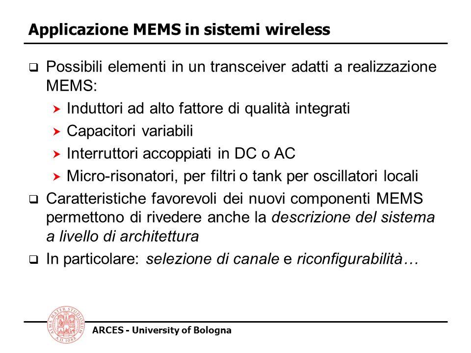 ARCES - University of Bologna Applicazione MEMS in sistemi wireless Possibili elementi in un transceiver adatti a realizzazione MEMS: Induttori ad alto fattore di qualità integrati Capacitori variabili Interruttori accoppiati in DC o AC Micro-risonatori, per filtri o tank per oscillatori locali Caratteristiche favorevoli dei nuovi componenti MEMS permettono di rivedere anche la descrizione del sistema a livello di architettura In particolare: selezione di canale e riconfigurabilità…