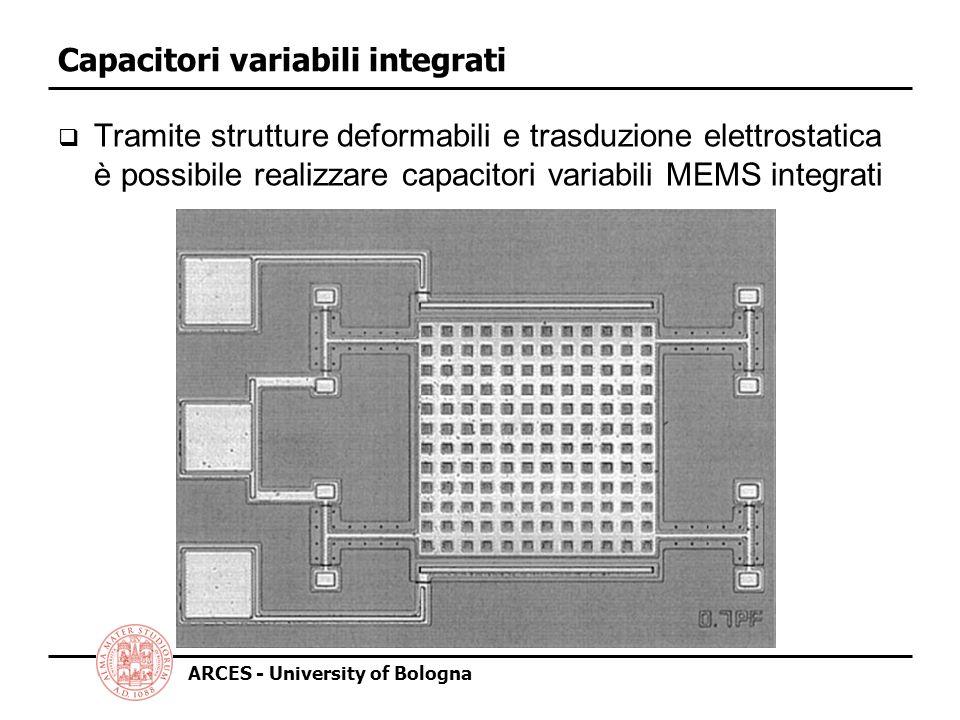 ARCES - University of Bologna Capacitori variabili integrati Tramite strutture deformabili e trasduzione elettrostatica è possibile realizzare capacitori variabili MEMS integrati