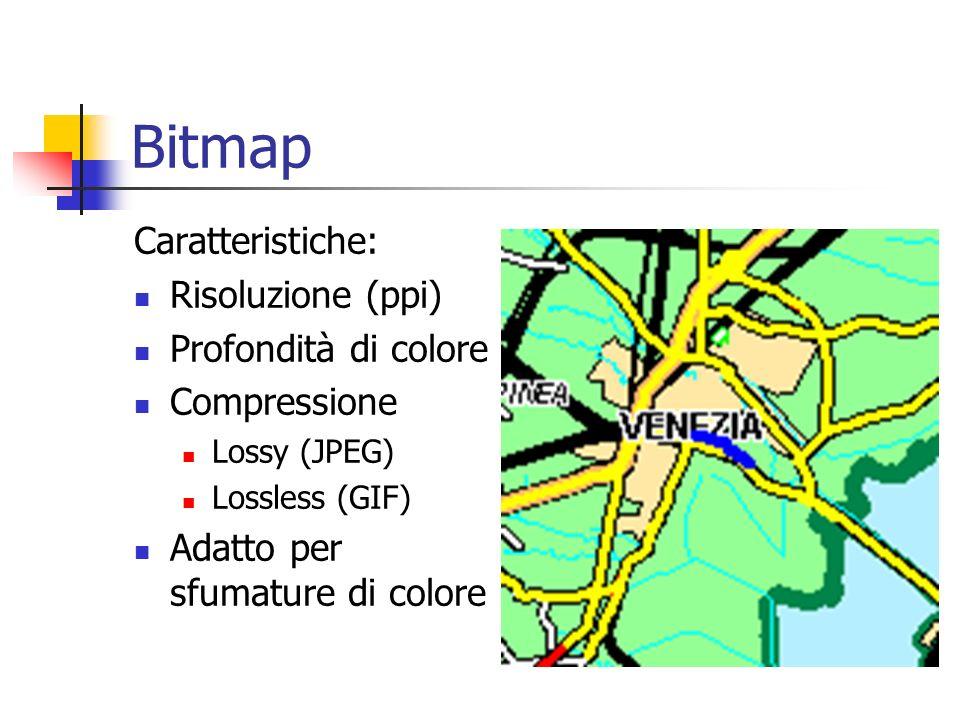 Formati di Immagine Due tipi fondamentali di immagini o meglio due modalità grafiche per rappresentare le immagini: Bitmap Limmagine viene descritta d