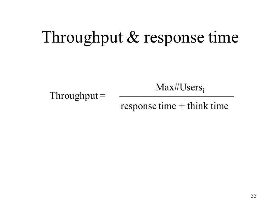 22 Throughput & response time Max#Users i response time + think time Throughput =
