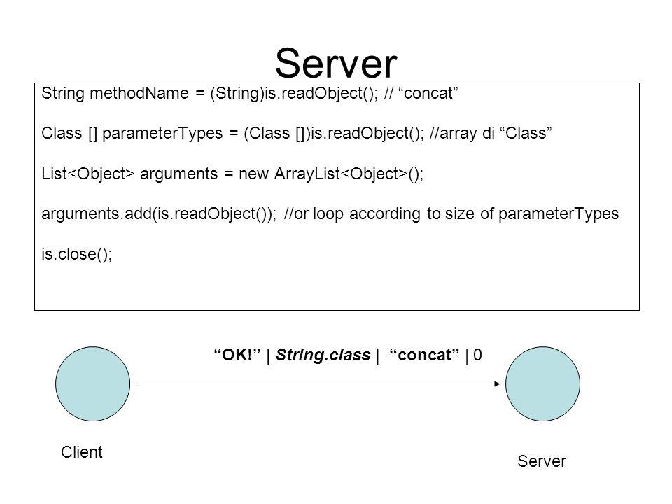 Server (calling the method) Objcet result = null; Method m; try { //m reflects the concat method… m = c.getMethod(methodName, parameterTypes); result = m.invoke(obj, arguments.toArray()); …