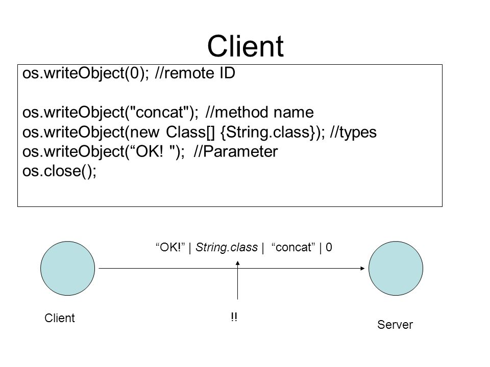 Client os.writeObject(0); //remote ID os.writeObject( concat ); //method name os.writeObject(new Class[] {String.class}); //types os.writeObject(OK.