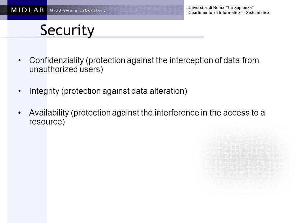 Università di Roma La Sapienza Dipartimento di Informatica e Sistemistica Security Confidenziality (protection against the interception of data from u