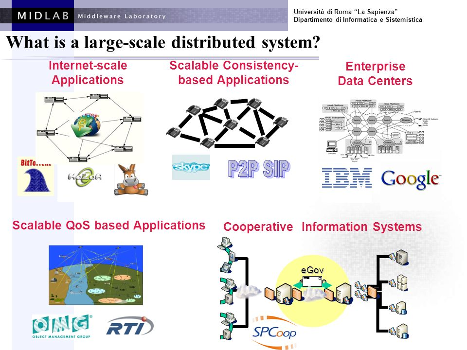 Università di Roma La Sapienza Dipartimento di Informatica e Sistemistica Internet-scale Applications Enterprise Data Centers Scalable Consistency- based Applications First Open Workshop Budapest 21-3-2007 What is a large-scale distributed system.