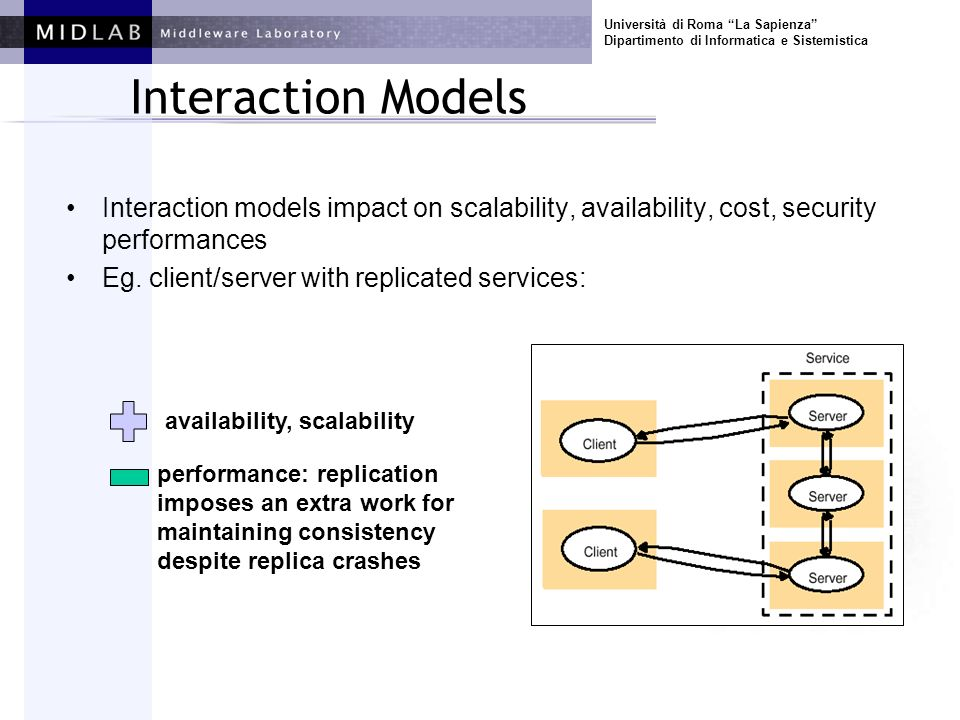 Università di Roma La Sapienza Dipartimento di Informatica e Sistemistica Interaction Models Interaction models impact on scalability, availability, cost, security performances Eg.