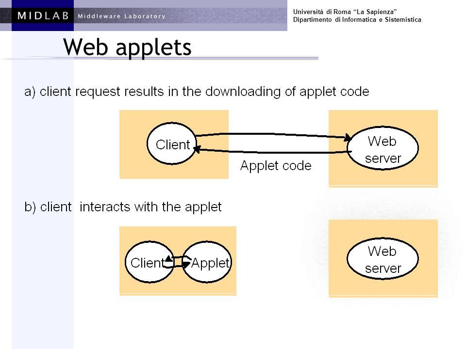 Università di Roma La Sapienza Dipartimento di Informatica e Sistemistica Web applets