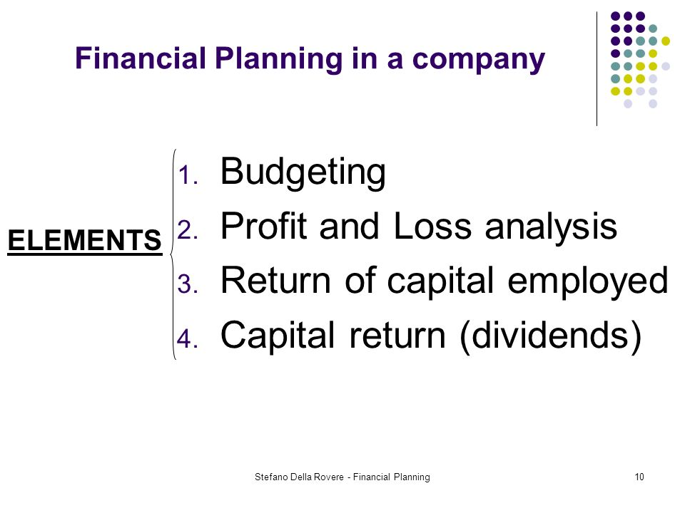 Stefano Della Rovere - Financial Planning10 Financial Planning in a company ELEMENTS 1.
