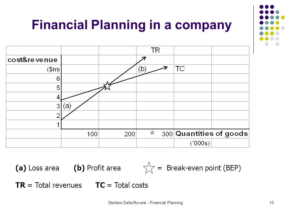Stefano Della Rovere - Financial Planning13 Financial Planning in a company (a) Loss area(b) Profit area = Break-even point (BEP) TR = Total revenues TC = Total costs