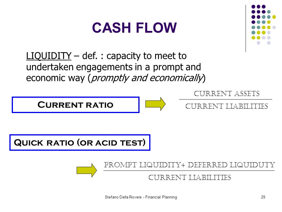 Stefano Della Rovere - Financial Planning29 CASH FLOW Current ratio LIQUIDITY – def.