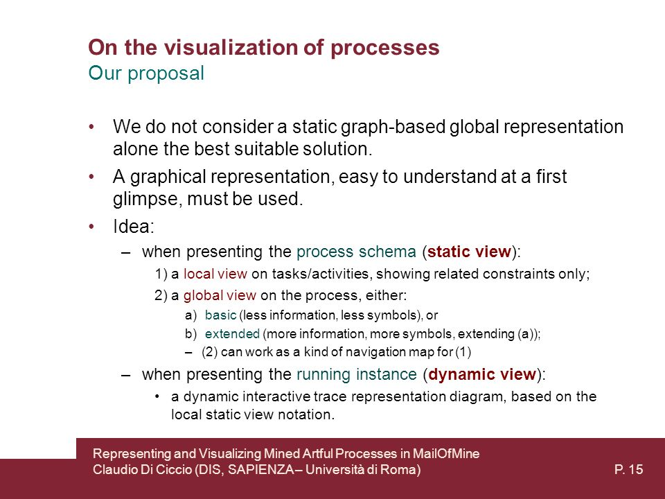 On the visualization of processes Our proposal We do not consider a static graph-based global representation alone the best suitable solution.