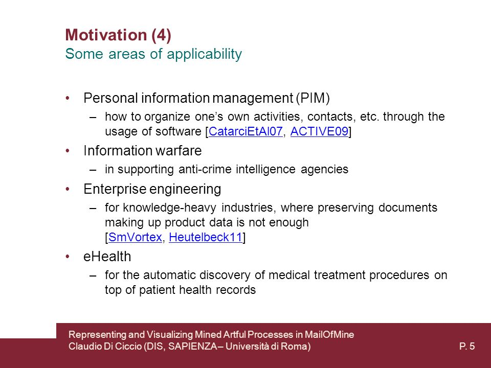Motivation (4) Personal information management (PIM) –how to organize ones own activities, contacts, etc.