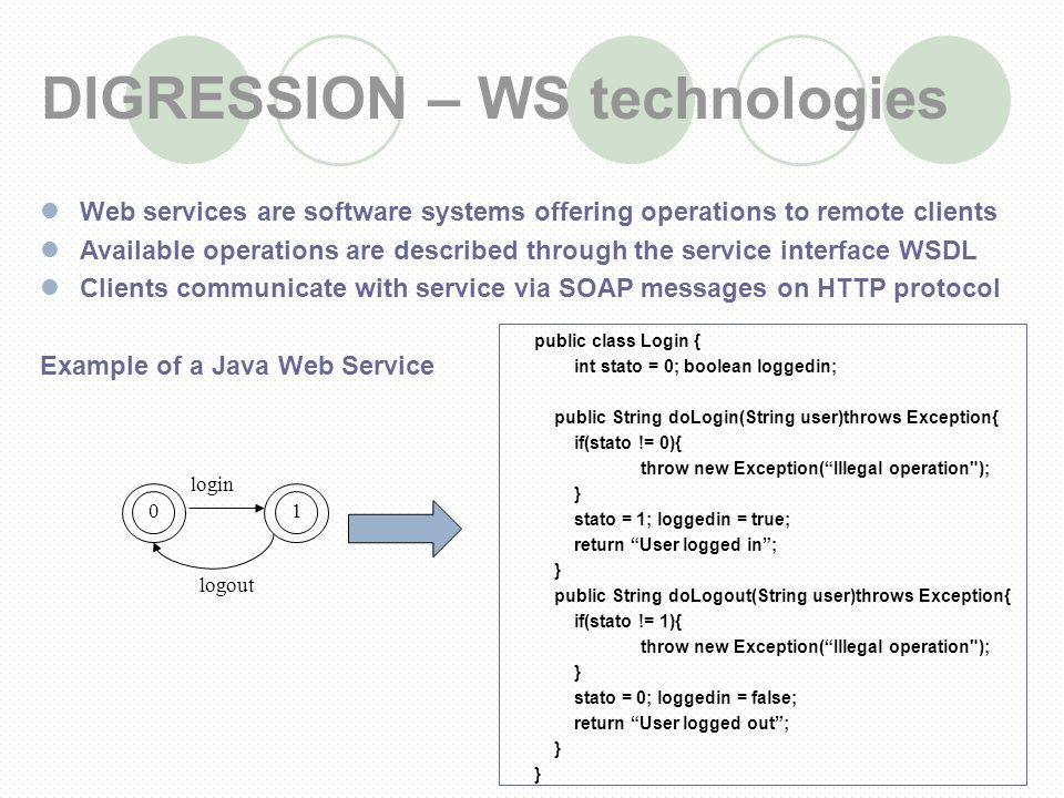 DIGRESSION – WS technologies Web services are software systems offering operations to remote clients Available operations are described through the service interface WSDL Clients communicate with service via SOAP messages on HTTP protocol Example of a Java Web Service public class Login { int stato = 0; boolean loggedin; public String doLogin(String user)throws Exception{ if(stato != 0){ throw new Exception(Illegal operation ); } stato = 1; loggedin = true; return User logged in; } public String doLogout(String user)throws Exception{ if(stato != 1){ throw new Exception(Illegal operation ); } stato = 0; loggedin = false; return User logged out; } 01 login logout