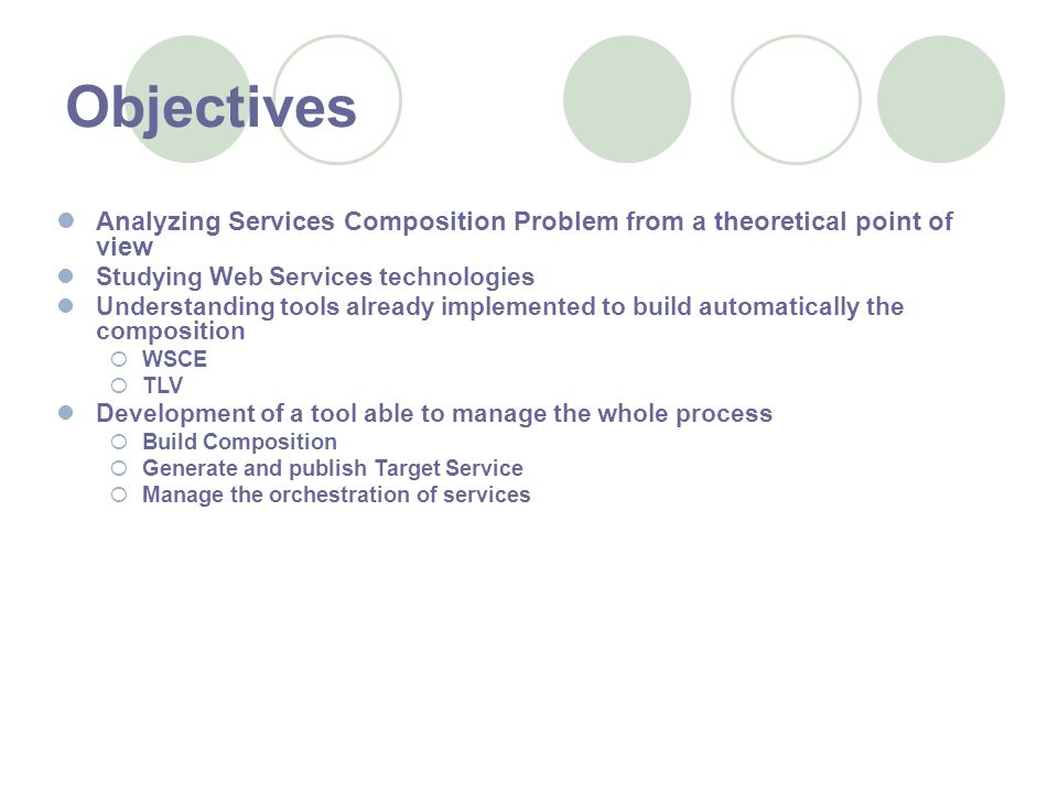 Objectives Analyzing Services Composition Problem from a theoretical point of view Studying Web Services technologies Understanding tools already implemented to build automatically the composition WSCE TLV Development of a tool able to manage the whole process Build Composition Generate and publish Target Service Manage the orchestration of services