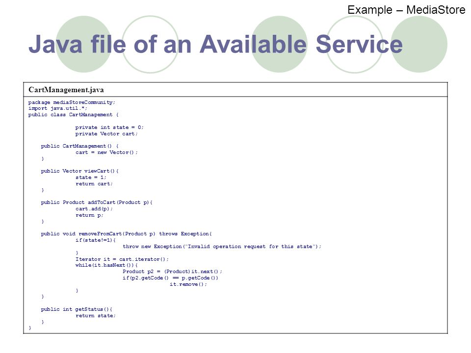 Java file of an Available Service Example – MediaStore CartManagement.java package mediaStoreCommunity; import java.util.*; public class CartManagement { private int state = 0; private Vector cart; public CartManagement() { cart = new Vector(); } public Vector viewCart(){ state = 1; return cart; } public Product addToCart(Product p){ cart.add(p); return p; } public void removeFromCart(Product p) throws Exception{ if(state!=1){ throw new Exception( Invalid operation request for this state ); } Iterator it = cart.iterator(); while(it.hasNext()){ Product p2 = (Product)it.next(); if(p2.getCode() == p.getCode()) it.remove(); } public int getStatus(){ return state; }