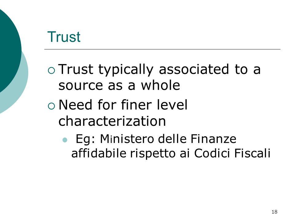 18 Trust Trust typically associated to a source as a whole Need for finer level characterization Eg: M i nistero delle Finanze affidabile rispetto ai