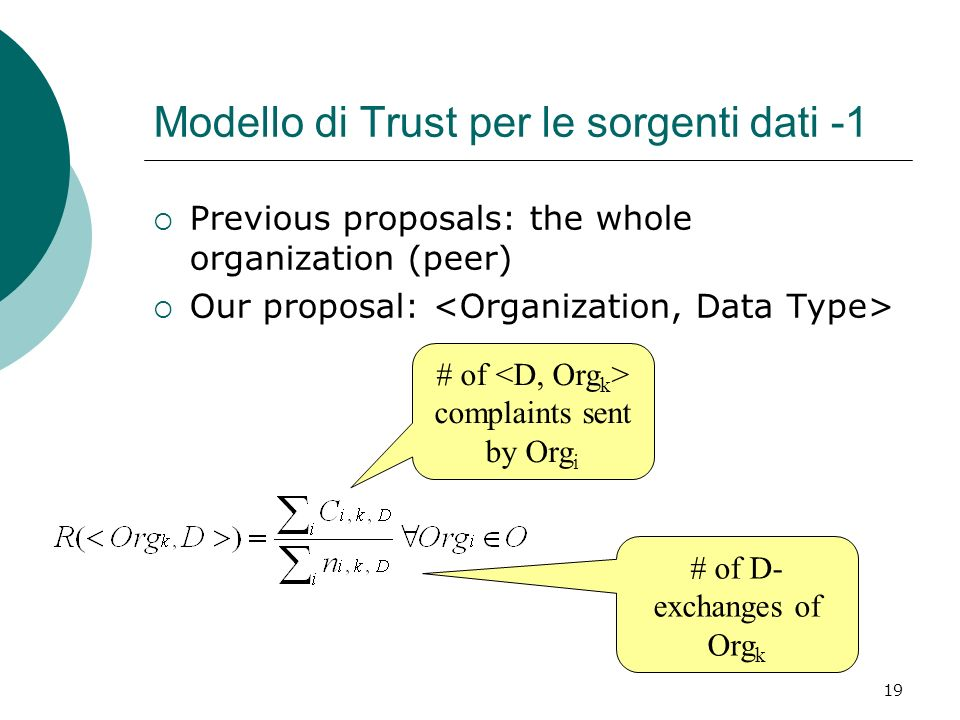 19 Modello di Trust per le sorgenti dati -1 Previous proposals: the whole organization (peer) Our proposal: # of D- exchanges of Org k # of complaints