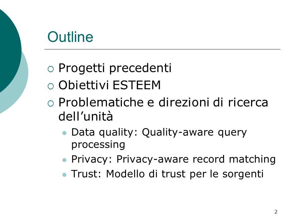 2 Outline Progetti precedenti Obiettivi ESTEEM Problematiche e direzioni di ricerca dellunità Data quality: Quality-aware query processing Privacy: Pr