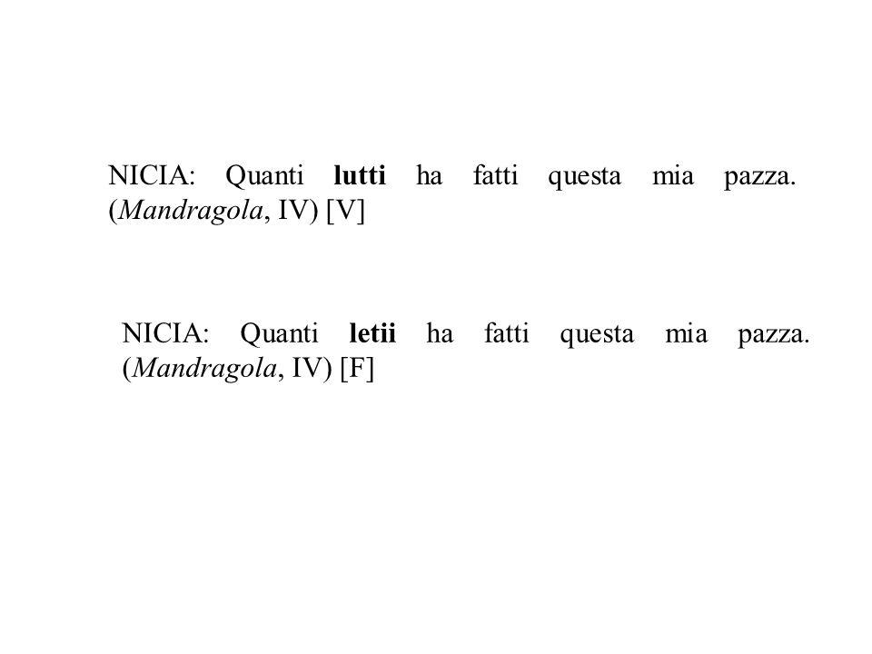 NICIA: Quanti lutti ha fatti questa mia pazza. (Mandragola, IV) [V] NICIA: Quanti letii ha fatti questa mia pazza. (Mandragola, IV) [F]