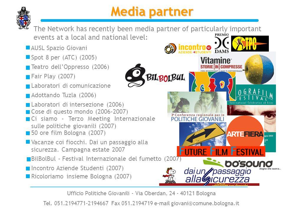 Media partner The Network has recently been media partner of particularly important events at a local and national level: AUSL Spazio Giovani Teatro dellOppresso (2006) Spot 8 per (ATC) (2005) Fair Play (2007) Laboratori di comunicazione Adottando Tuzla (2006) Vacanze coi fiocchi.
