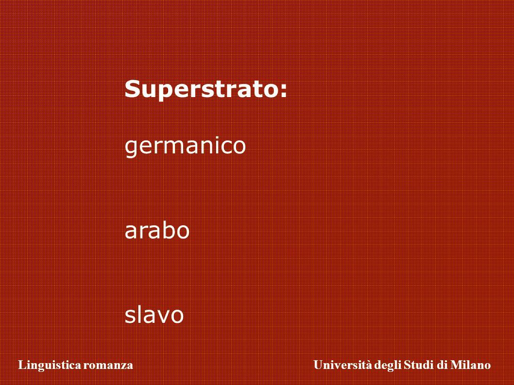 Linguistica romanzaUniversità degli Studi di Milano Superstrato: germanico arabo slavo
