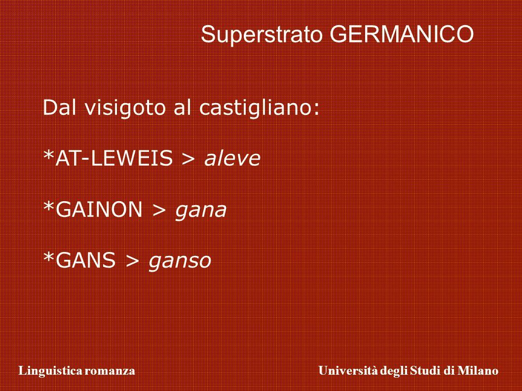 Linguistica romanzaUniversità degli Studi di Milano Superstrato GERMANICO Dal visigoto al castigliano: *AT-LEWEIS > aleve *GAINON > gana *GANS > ganso
