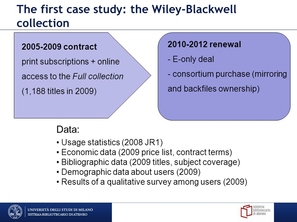 SISTEMA BIBLIOTECARIO DI ATENEO The first case study: the Wiley-Blackwell collection 2005-2009 contract print subscriptions + online access to the Full collection (1,188 titles in 2009) 2010-2012 renewal - E-only deal - consortium purchase (mirroring and backfiles ownership) Data: Usage statistics (2008 JR1) Economic data (2009 price list, contract terms) Bibliographic data (2009 titles, subject coverage) Demographic data about users (2009) Results of a qualitative survey among users (2009)