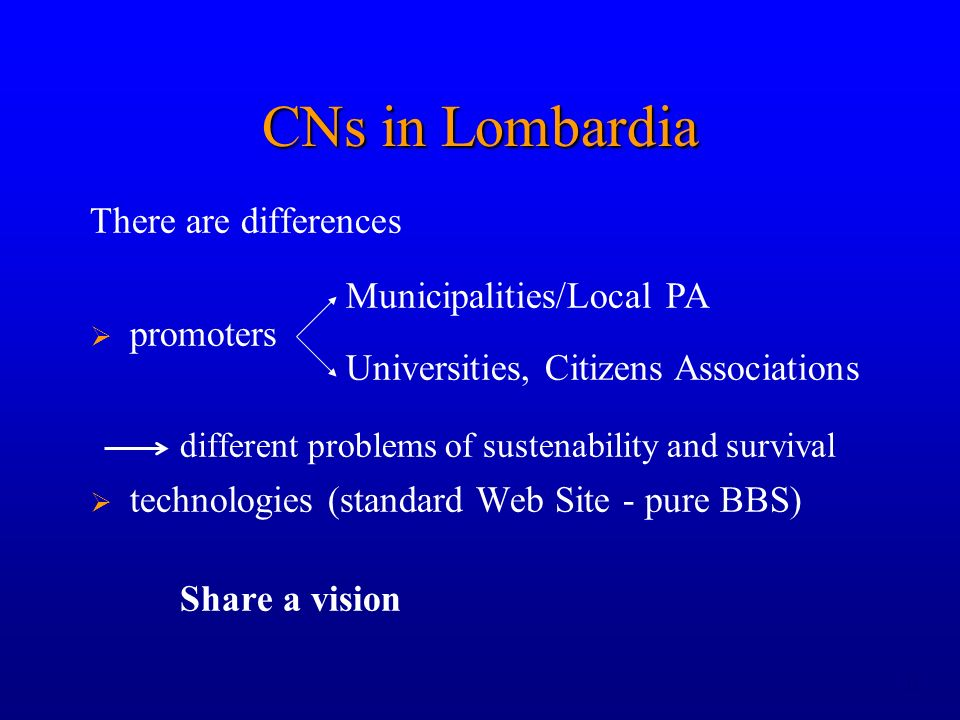 11 There are differences promoters different problems of sustenability and survival technologies (standard Web Site - pure BBS) Share a vision CNs in Lombardia Municipalities/Local PA Universities, Citizens Associations