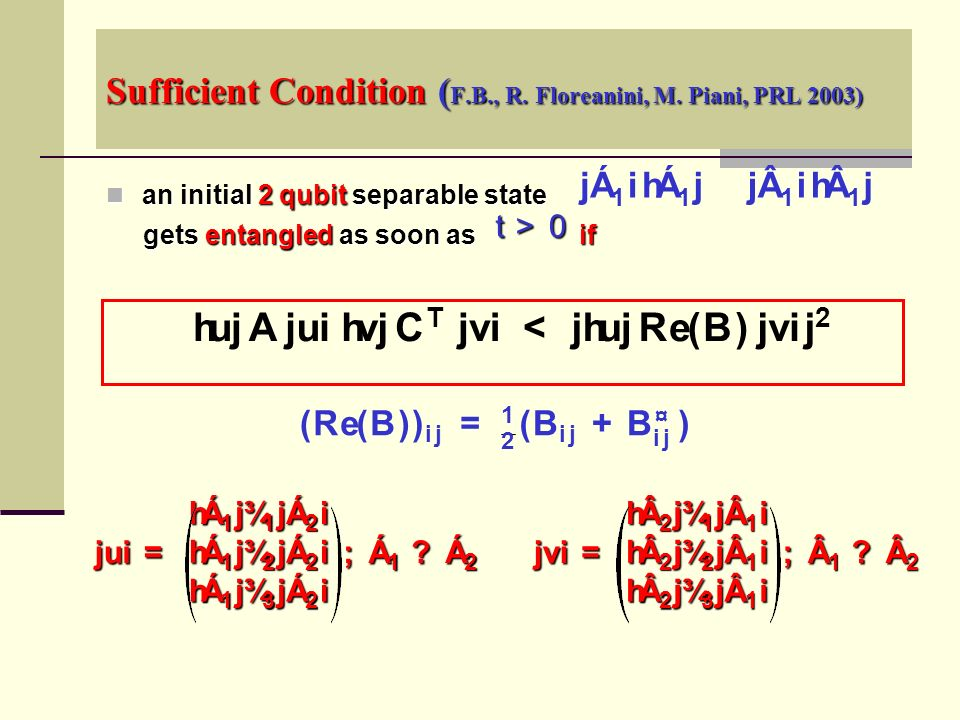 Sufficient Condition ( F.B., R. Floreanini, M.