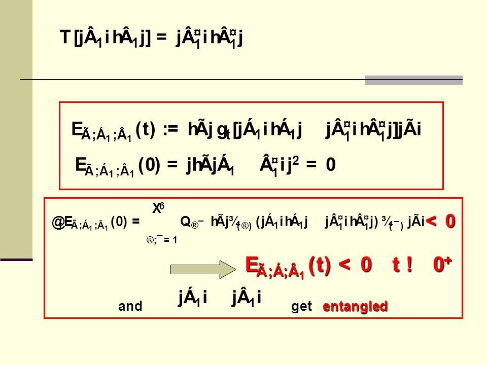 E à ; Á 1 ; 1 ( t ) : = h à j g t [j Á 1 ih Á 1 j  j ¤ 1 ih ¤ 1 j]j à i T [j 1 ih 1 j] = j ¤ 1 ih ¤ 1 j <0 @ t E à ; Á 1 ; 1 ( 0 ) = 6 X ® ; ¯ = 1 Q ® ¯ h à j ¾ ( ® ) (j Á 1 ih Á 1 j  j ¤ 1 ih ¤ 1 j) ¾ ( ¯ ) j à i E à ; Á 1 ; 1 ( 0 ) = jh à j Á 1  ¤ 1 ij 2 = 0 and get entangled j Á 1 i  j 1 i E à ; Á ; 1 ( t ) < 0 t .