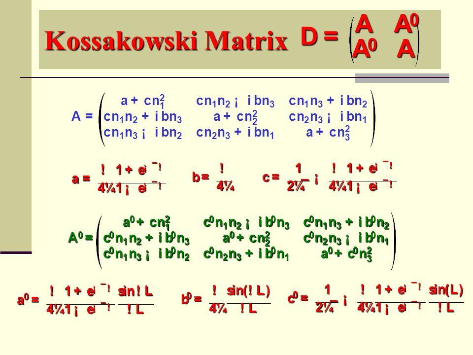 Kossakowski Matrix b = ! 4 ¼ c = 1 2 ¼ ¯ ¡ ! 4 ¼ 1 + e ¡ ¯ ! 1 ¡ e ¡ ¯ ! A = a + cn 2 1 cn 1 n 2 ¡ i b n 3 cn 1 n 3 + i b n 2 cn 1 n 2 + i b n 3 a + c