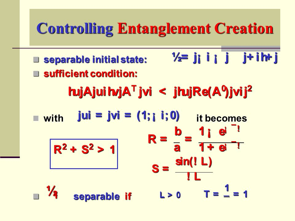 Controlling Entanglement Creation separable initial state: separable initial state: sufficient condition: sufficient condition: with it becomes with it becomes separable if separable if ½ =j¡i¡j­j+ih+j jui=jvi=(1 ; ¡ i ; 0) R 2 + S 2 > 1 S = s i n(.